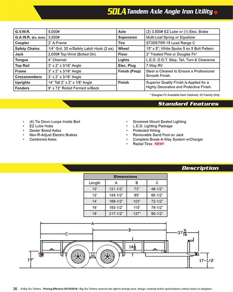 2017 Big Tex 50la 14bk4rg Utility Trailer 073177 Wiring Harness For Brochure