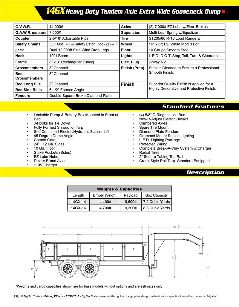 Big Tex Dump Trailer Wiring Diagram Libraries Gooseneck Trailers Harness 2017 14gx 16bk7sirpd Hd Tandem Axle 086284big