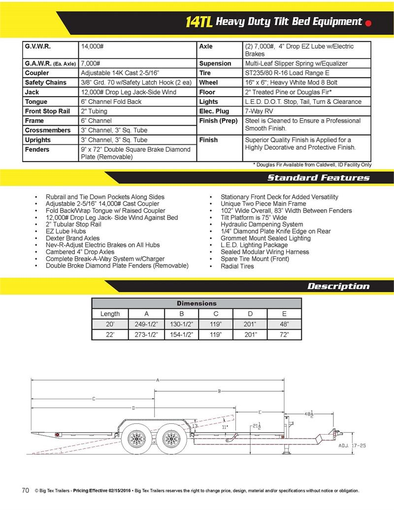 Big Tex 14tl 22bk Heavy Duty Tilt Bed Equipment 038984 Double Axle For Trailer Wiring Diagram