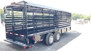 "Delco Gooseneck Stock Trailer, 2021, 20'x6'8"" Black_Gray Tarp 015307-1"