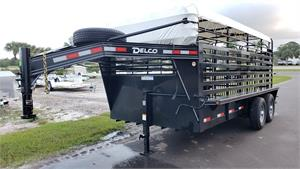 "Delco Gooseneck Stock Trailer, 2020, 16'x6'8"" Black_White Tarp #009595"